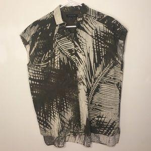 Lafayette 148 Silk Cotton Grove Palm Print Top P